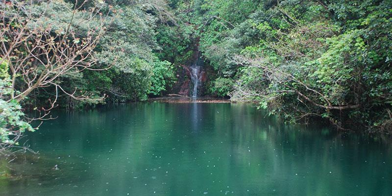 三原山にある硫黄沼と落差36mの滝を目指す